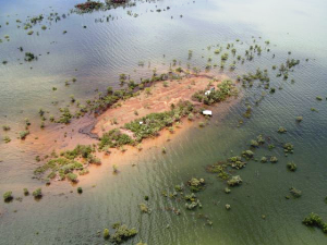 One of the small islands with stranded wallabies. Picture courtesy DEC