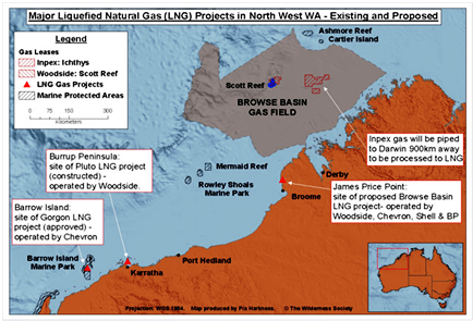 Figure 1: Major liquefied natural gas (LNG) projects in North West WA - existing and proposed (Wilderness Society, 2010)